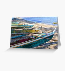 Group of Fishing Palm Boats Greeting Card