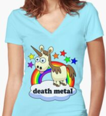 death metal unicorn Women's Fitted V-Neck T-Shirt