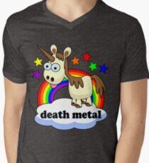 Death Metal Einhorn T-Shirt mit V-Ausschnitt für Männer