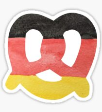 Pretzel in Hand-Painted Water Colors of German Flag Sticker