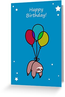 Happy Birthday Balloon Sloth Greeting Cards by