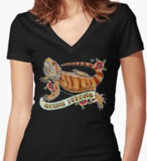 """Going Strong Bearded Dragon"" Women's Fitted V-Neck T-Shirt"