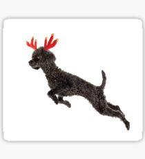 Black Poodle Christmas Reindeer with Red Antlers Sticker