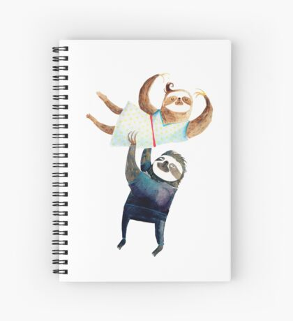 Slothy dancing - sloth couple Spiral Notebook