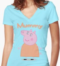 Mummy Pig Women's Fitted V-Neck T-Shirt