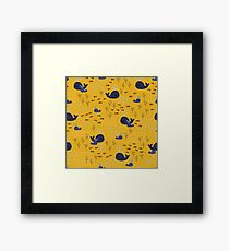 Playful Whales Drawing - Seamless Pattern Framed Print