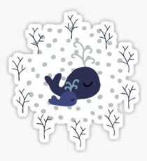 Playful Whales Drawing - Seamless Pattern Sticker