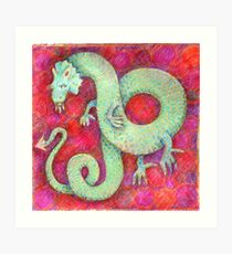Green Dragon on red background Art Print
