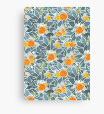 oranges and leaves vintage pattern Canvas Print