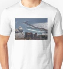 Naples Distinctive Harbor in Silver and Blue - Castles and Cruise Ships From Above T-Shirt