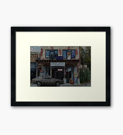 Moody Auto Parts In the Rain Framed Print