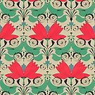 russian ethnic flowers pattern sepia by Maria Khersonets