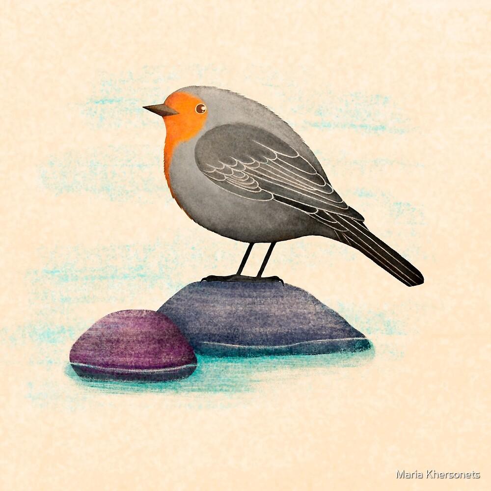 a robin bird on a rock by Maria Khersonets