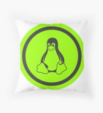 Tux Green Throw Pillow