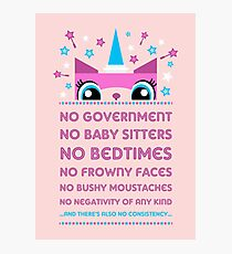 Rules By Princess Unikitty (UK Version) Photographic Print