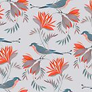 pretty bird red flower pattern  by Maria Khersonets