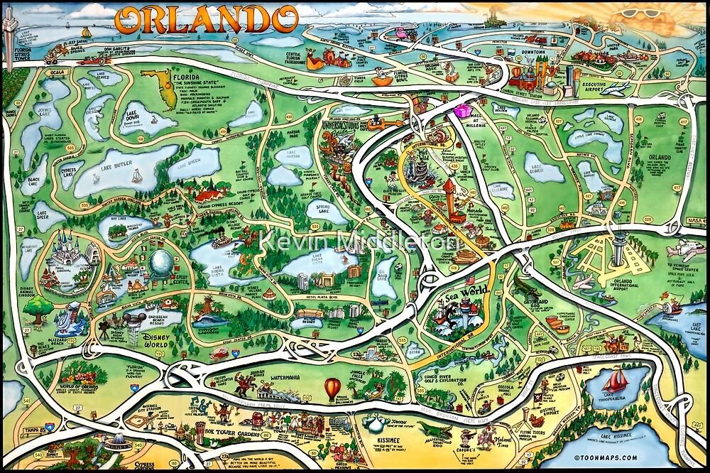 Orlando Florida Cartoon Map by Kevin Middleton