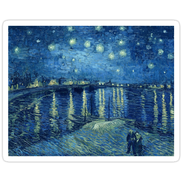 vincent van gogh starry night over the rhone stickers. Black Bedroom Furniture Sets. Home Design Ideas