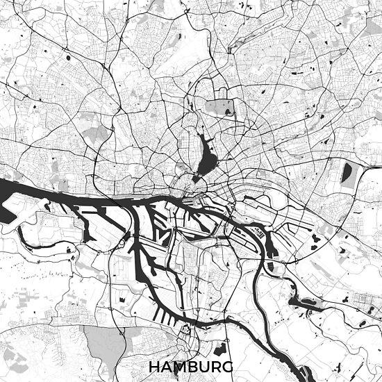 Hamburger Stadtplan Grau von HubertRoguski