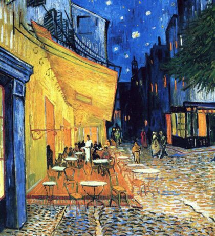 Vincent van Gogh - The Cafe Terrace on the Place de Forum in Arles at Nigh Sticker