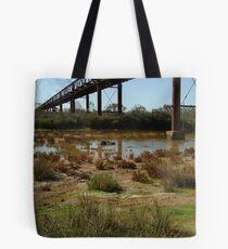 Joe Mortelliti Gallery - Ruins of a railway bridge, Old Ghan Railway, South Australia. Tote Bag