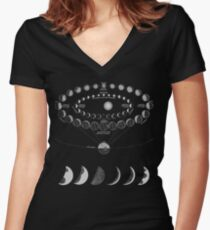 Moon Tracker Women's Fitted V-Neck T-Shirt
