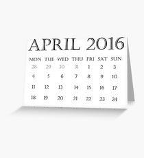 Calendar April 2016 Greeting Card