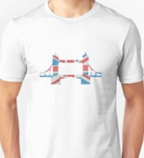 Tower Bridge London River Thames in UK Flag Water Colors Red, White and Blue Unisex T-Shirt