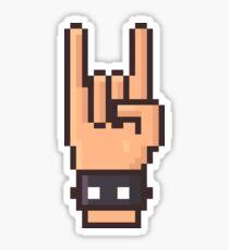 Pixel Art Rock Hand Sticker
