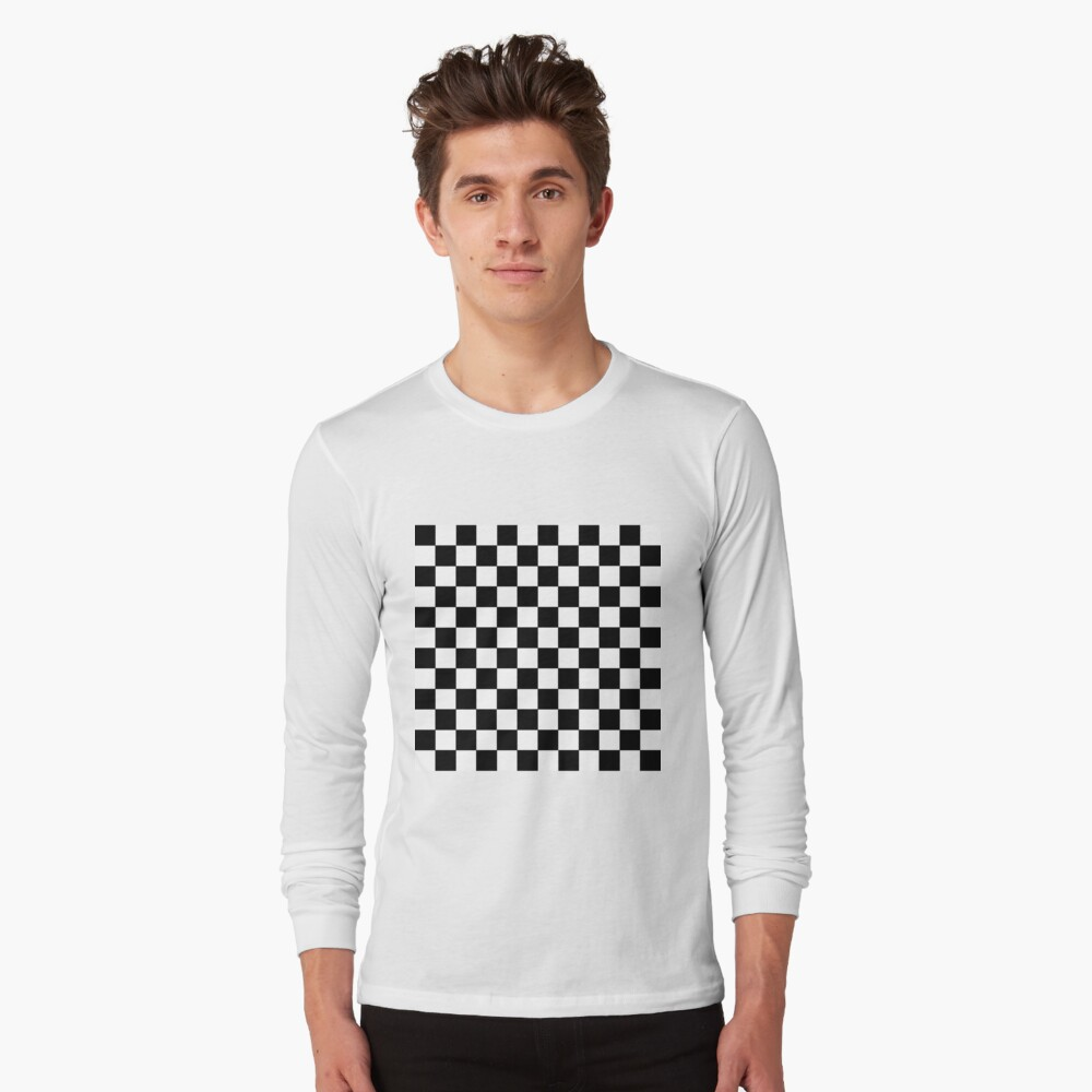 Checkered Black and White Long Sleeve T-Shirt