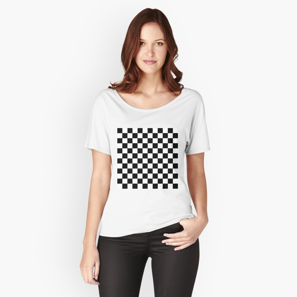 Checkered Black and White Relaxed Fit T-Shirt