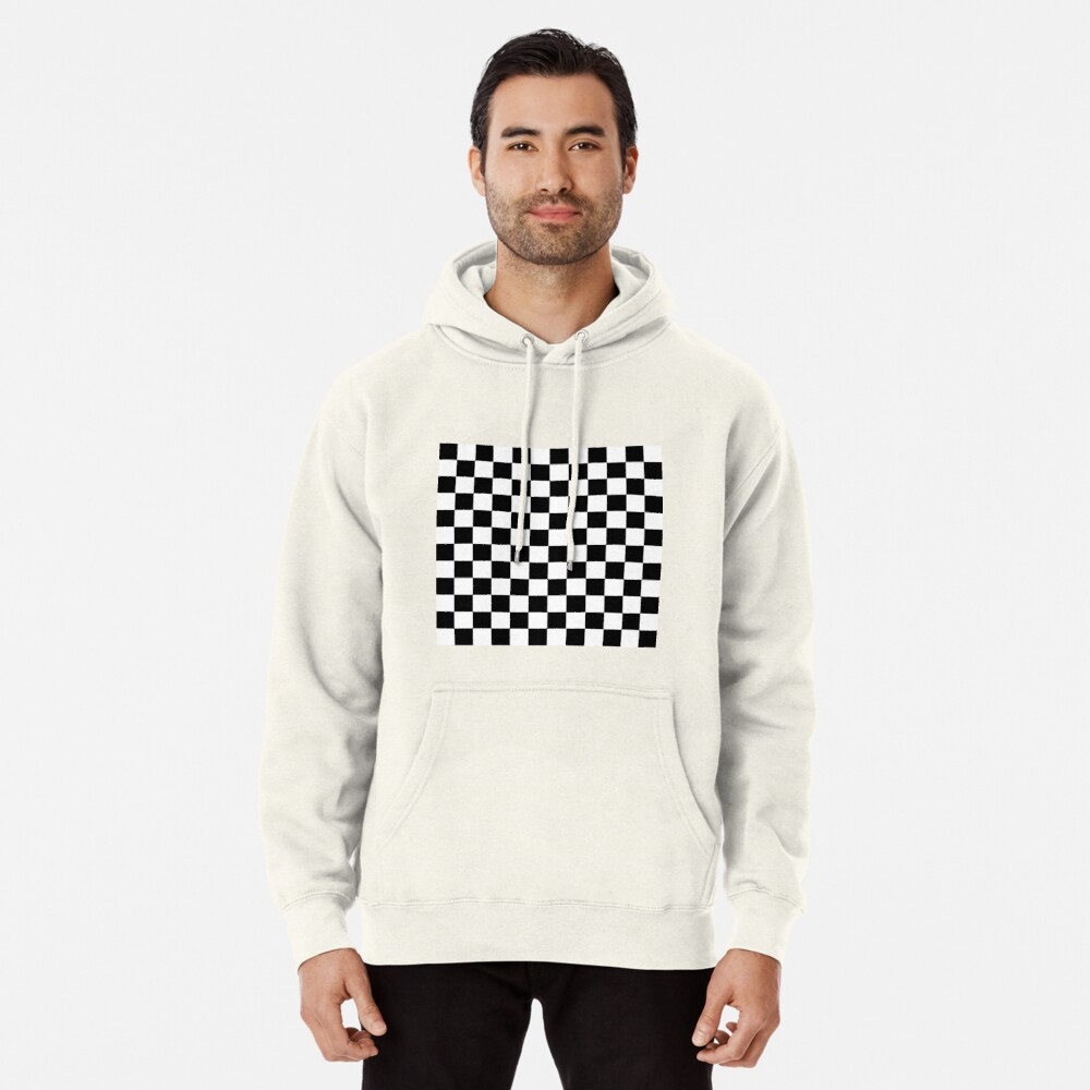 Checkered Black and White Pullover Hoodie