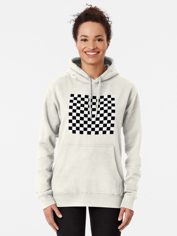 Alternate view of Checkered Black and White Pullover Hoodie