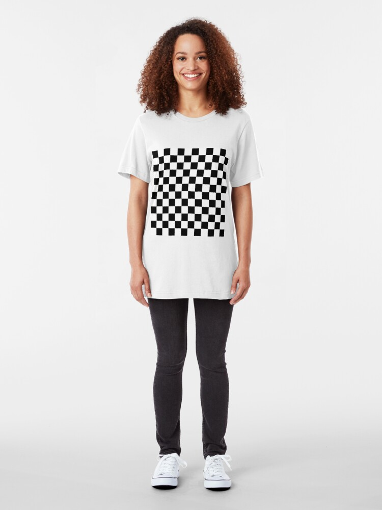 Alternate view of Checkered Black and White Slim Fit T-Shirt