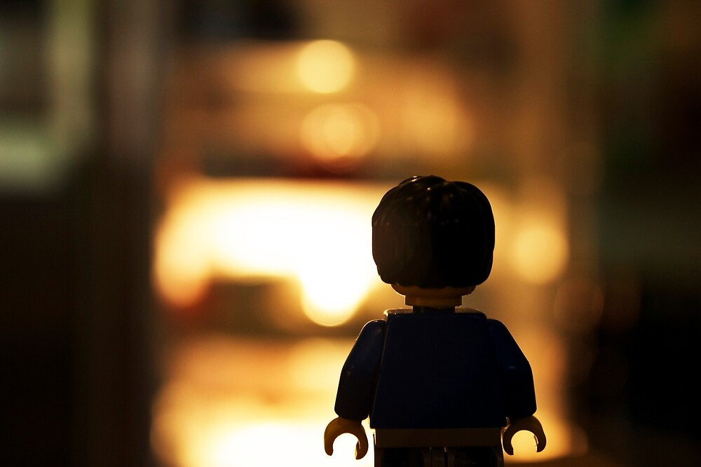 Minifigure on Night Walk by MokaFuzz
