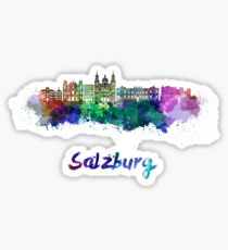 Salzburg skyline in watercolor Sticker