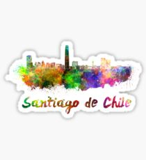 Santiago de Chile skyline in watercolor Sticker