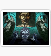 Weeping angels stained glass Sticker