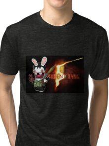 Raving Rabbid Chris Redfield Tri-blend T-Shirt