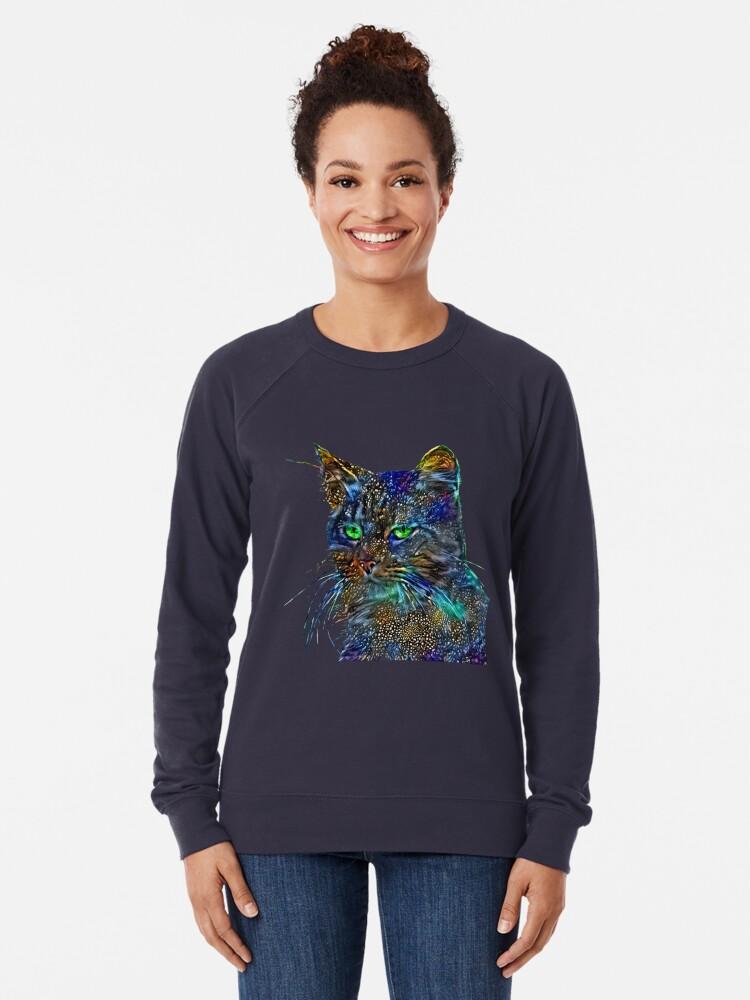 Alternate view of Artificial neural style Starry night wild cat Lightweight Sweatshirt