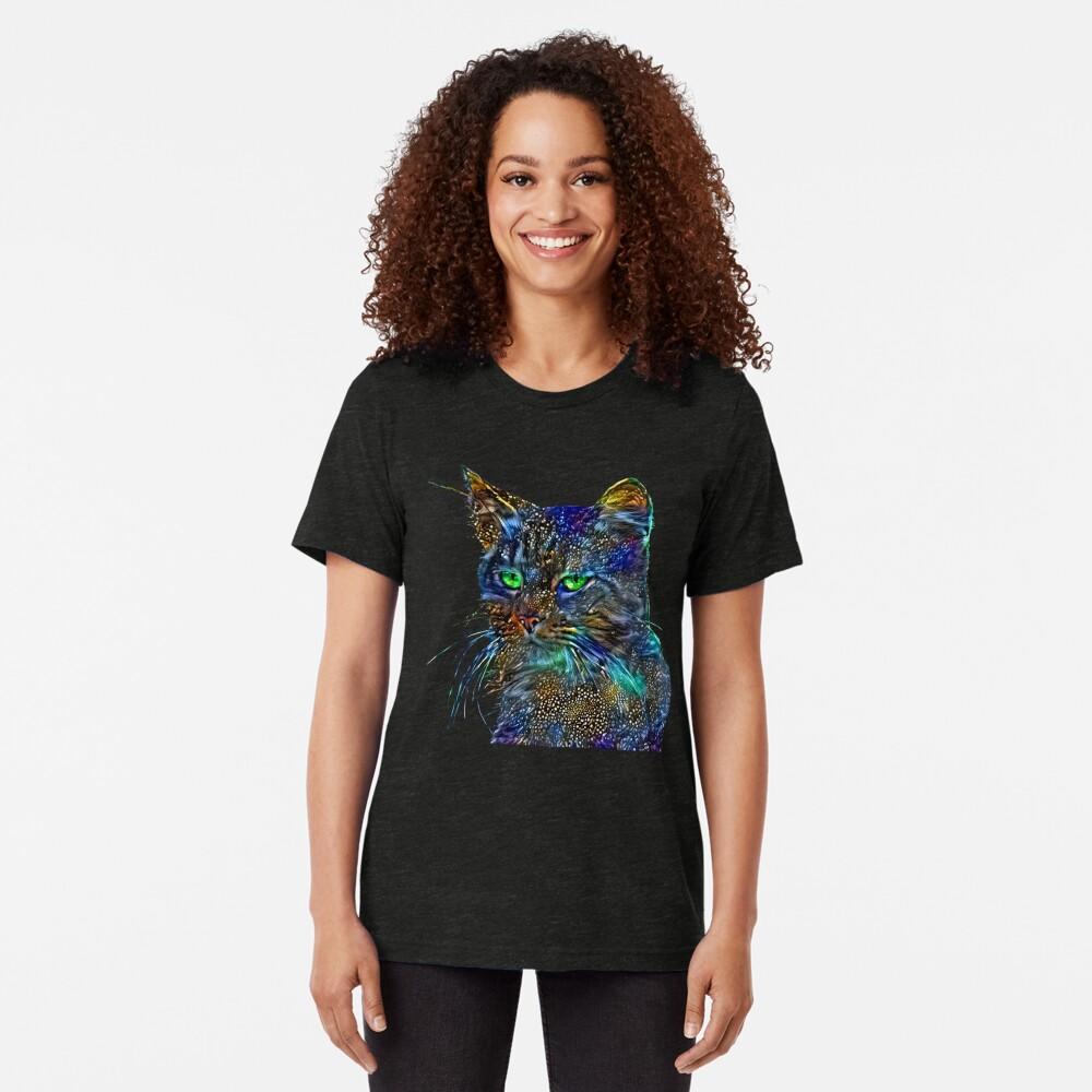 Artificial neural style Starry night wild cat Tri-blend T-Shirt
