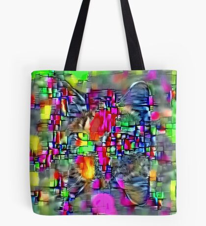 Artificial neural style Cubism mirror cat Tote Bag