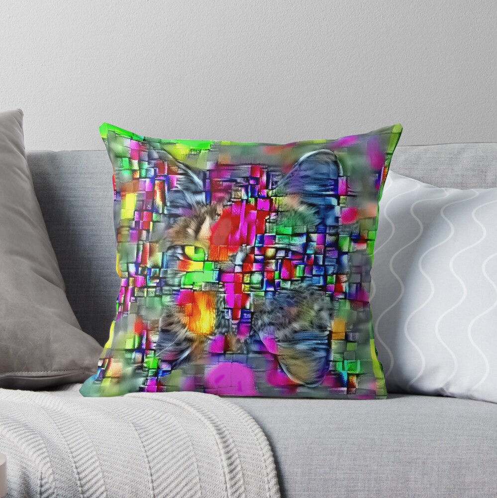 Artificial neural style Cubism mirror cat Throw Pillow