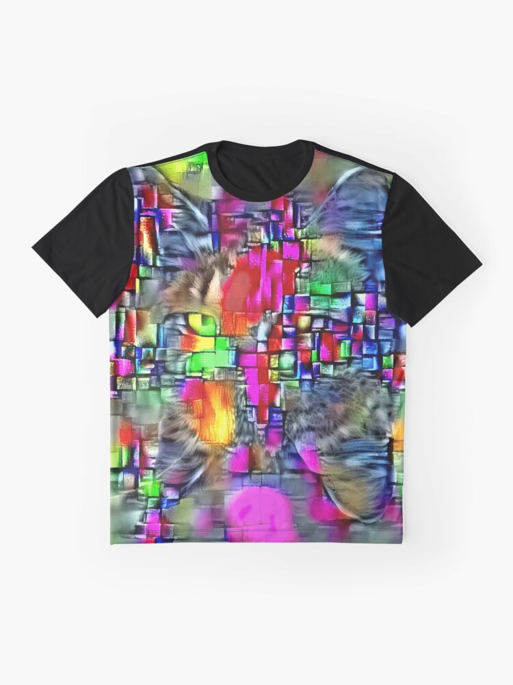Alternate view of Artificial neural style Cubism mirror cat Graphic T-Shirt