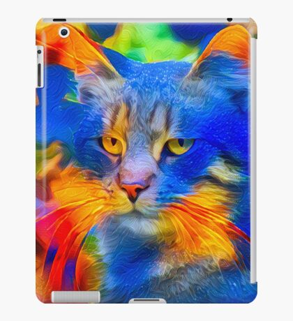 Artificial neural style flower wild cat iPad Case/Skin