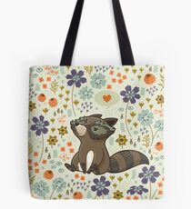 Funny little raccoon love you Tote Bag