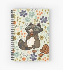 Funny little raccoon eating cookies Spiral Notebook