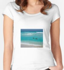 Birds swimming Women's Fitted Scoop T-Shirt
