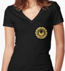 Battlestar Galactica Golden Logo Women's Fitted V-Neck T-Shirt
