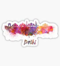 Delhi skyline in watercolor Sticker